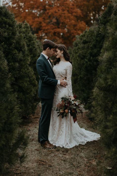 modern vintage christmas tree farm wedding inspiration in