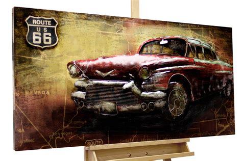 wandbild metall  auto route  rot kaufen kunstloft