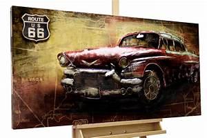 Wandbild Metall 3d : wandbild metall 3d auto route 66 rot kaufen kunstloft ~ Watch28wear.com Haus und Dekorationen