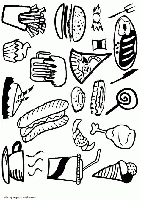 cuisine color unhealthy food coloring pages pixshark com images