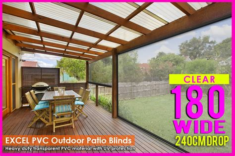 180cm x 240cm heavy duty pvc clear patio cafe blinds