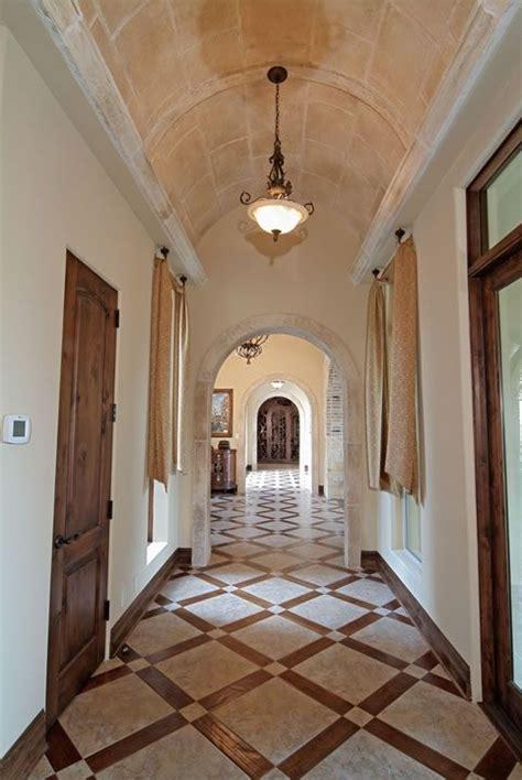 patterned tile floor barrel ceiling  faux finish