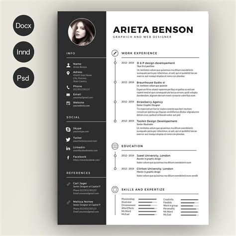 clean cv resume by estart on creativemarket created by