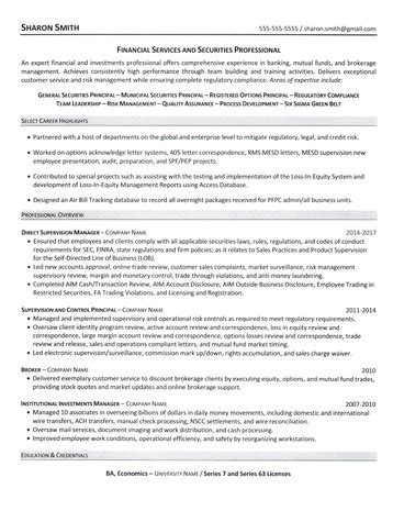financial services professional resume
