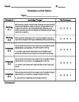 common core persuasive letter rubric literacywriting