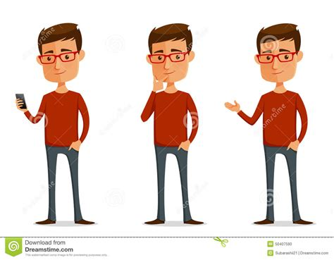 Funny Cartoon Guy With Glasses Stock Vector