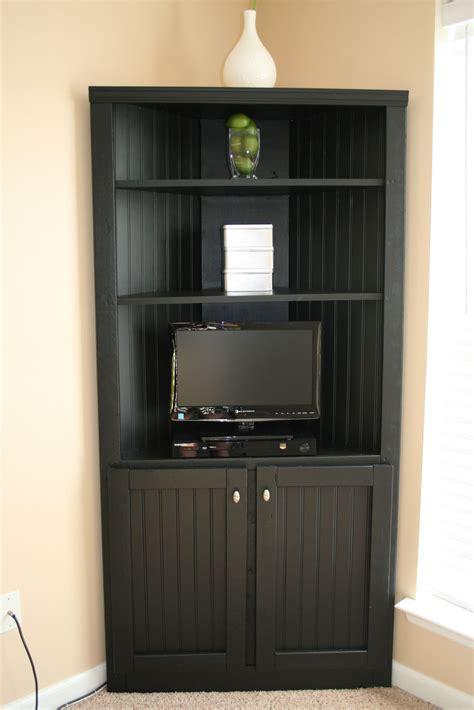 Black Corner Media Storage Cabinet With Doors And Shelves