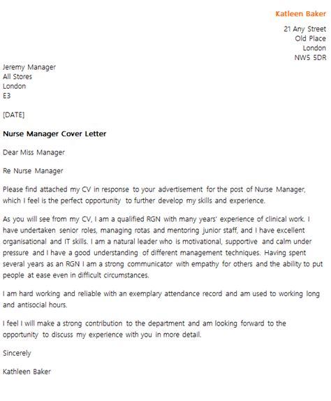 cover leter for deputy nursing manager manager cover letter exle icover org uk