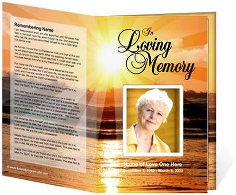 funeral programs sunrise bifold program templates