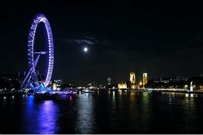 London Lights Eye Neon Night Moon Pemandangan
