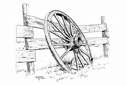 Wagon Wheel Drawing Pencil Drawings Coloring Sketch