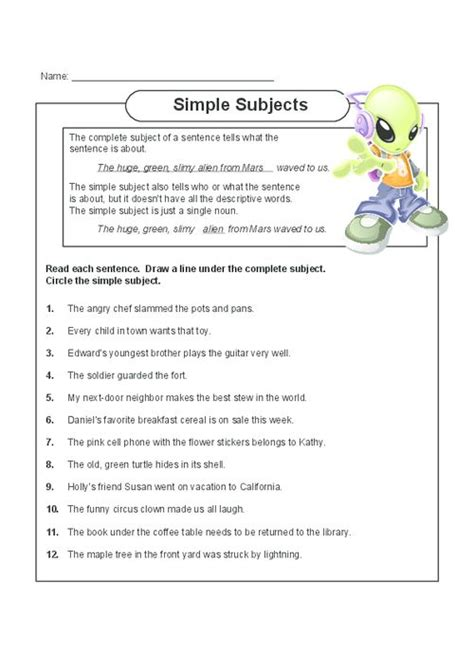 simple subjects english free printable and read more