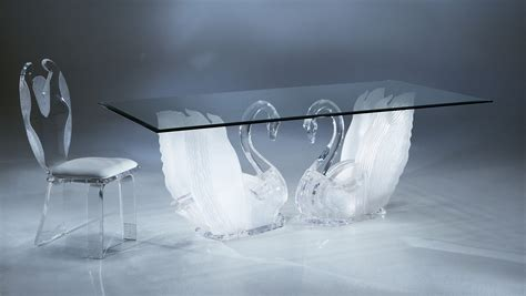 Clear Acrylic Legend Swan Rectangular Dining Table With
