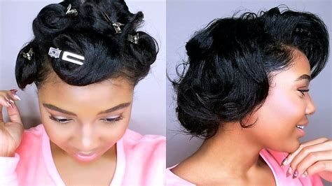 How To Style SHORT Relaxed Hair PIN CURLS TUTORIAL