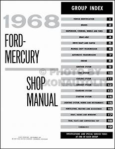 1968 Ford Galaxie  U0026 Mercury Big Car Repair Shop Manual Reprint