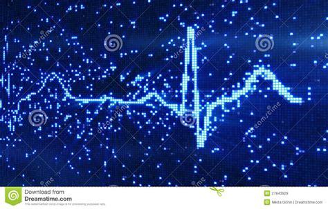 digital pixel ekg blue background royalty  stock