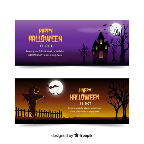 Our group is open to anyone who wants to seek & share svg files, ask cutting our cut files comes with svg, dxf, png & eps files, and they are compatible with cricut, cameo silhouette studio and. Colorful halloween banners with realistic design Vector ...
