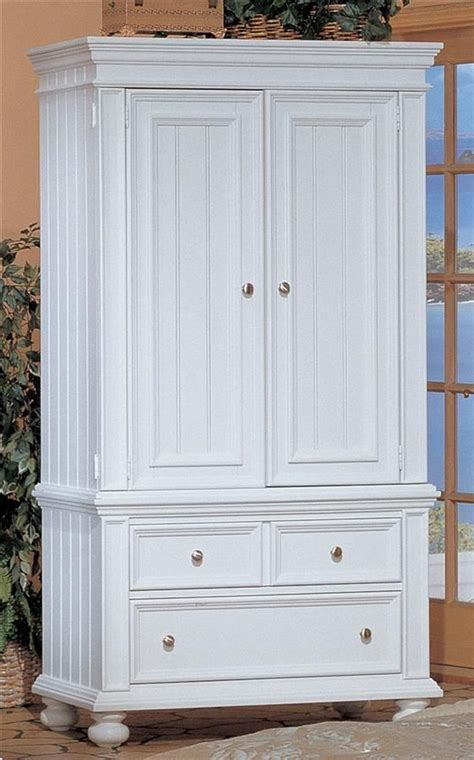 Clothes Armoire With Drawers by White Cape Cod Cottage Armoire With Clothes Rod 2