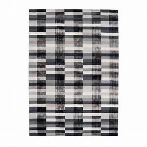 Tapis Salon Design : tapis de salon design graphique tons gris en viscose ~ Teatrodelosmanantiales.com Idées de Décoration