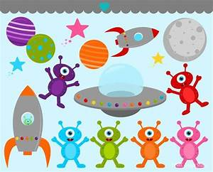 Space Aliens Clip Art - Outer Space Clip Art - Digital ...