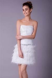 Robe Courte Mariée : robe de mari e courte blanche bustier plume ref c757 robes de bapt me ~ Melissatoandfro.com Idées de Décoration