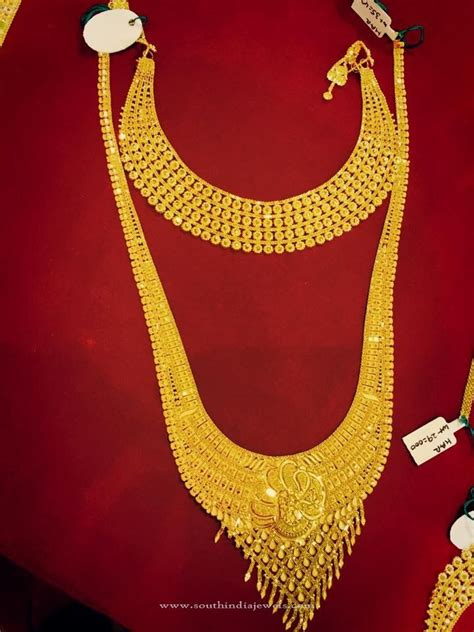 gold bridal jewellery choker long necklace bridal