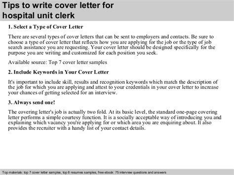 Unit Clerk Resume Cover Letters by Hospital Unit Clerk Cover Letter