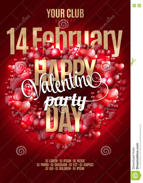 Valentine S Happy Day Party Invitation Flyer Background ...