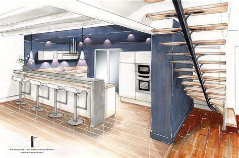 escalier entre cuisine et salon rénovation intérieur esprit scandinave nordique