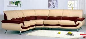 Two tone leather modern sectional sofa w chromed metal legs for Sectional sofa metal legs