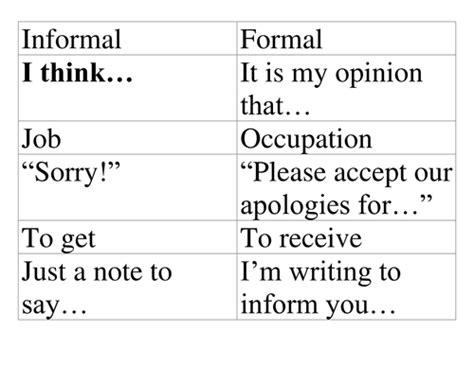 informal  formal writing  bhanney teaching