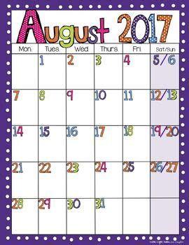editable bright polka dot monthly calendars life