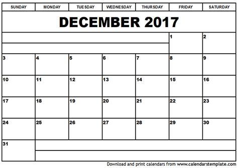 Calandar Template by December 2017 Calendar Template