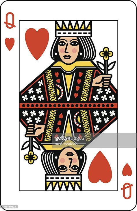 queen  hearts playing card high res vector graphic