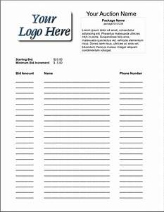 6 silent auction bid sheet templates formats examples With bid sheets for silent auction template