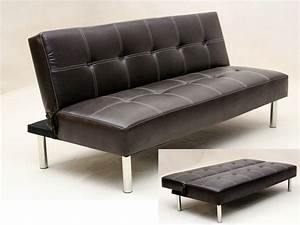 Faux leather 3 seater sofa bed brown black homegenies for Leather sofa bed