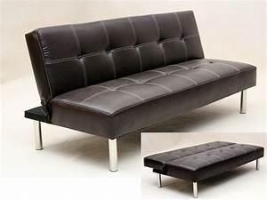 Sofa Led : faux leather 3 seater sofa bed brown black homegenies ~ Pilothousefishingboats.com Haus und Dekorationen