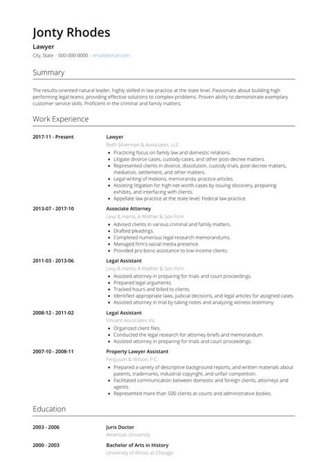 Lawyer - Resume Samples and Templates   VisualCV