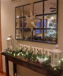 Christmas console table decor on Pinterest