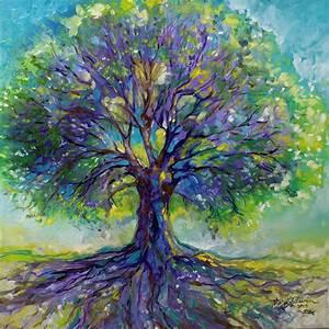 Purple Heart Tree Of Life Painting by Marcia Baldwin
