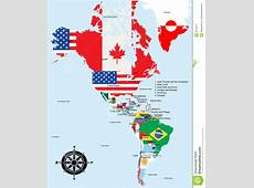 American Map With Country And City Names Stock Images