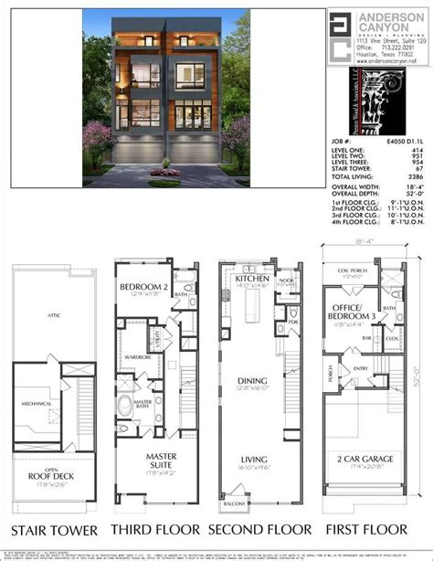 3 1/2 Story Duplex Townhouse Plan E4050   Narrow house ...