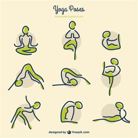 sketches yoga poses  green details vector