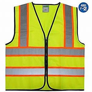 GripGlo Reflective Safety Vest Bright Neon Color with 2