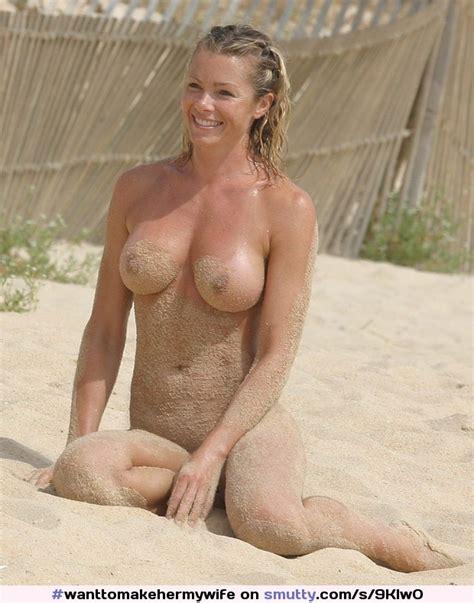 Blonde Nude Beach Sand Boobs Tits Smile Milf Wife
