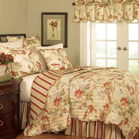 charleston chirp reversible floral quilt set by waverly