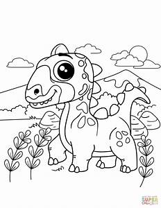 Cute Dinosaur Coloring Page Free Printable Coloring Pages