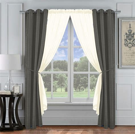 6 pc jacquard window curtain set gray ivory 2 panel