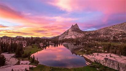 Sunset Pink National Yosemite Park Lake Cathedral