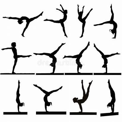 Gymnastics Silhouette Gymnast Silhouettes Dreamstime Beam Bars